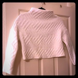 Zara Embossed White Crop Top - Small